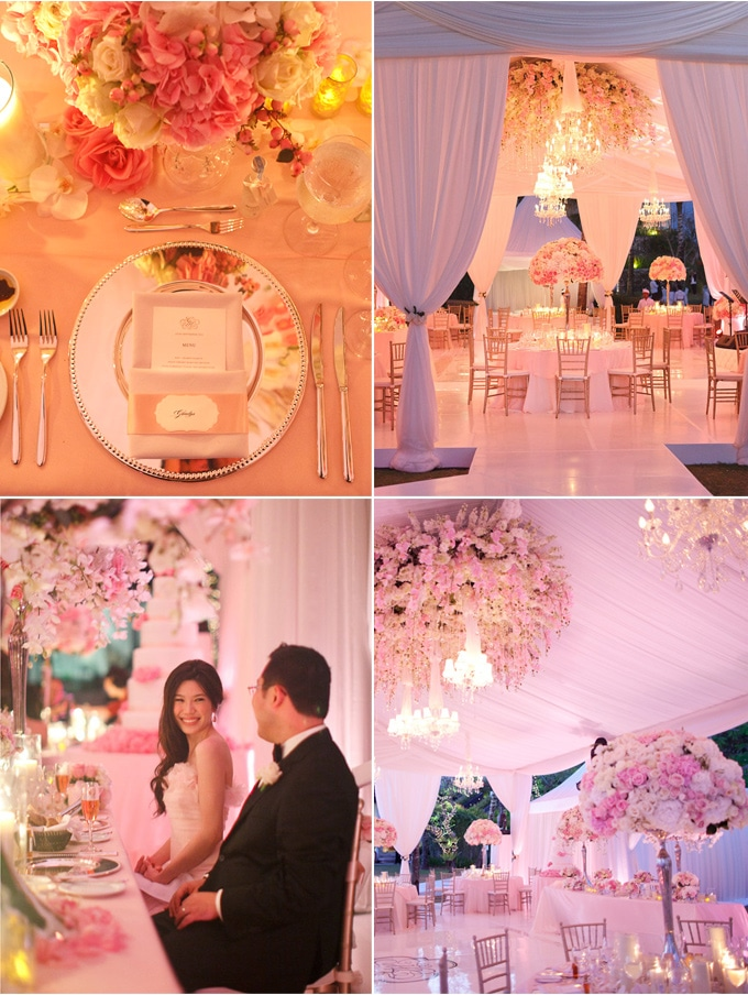 Soft petal pink decor and centerpieces