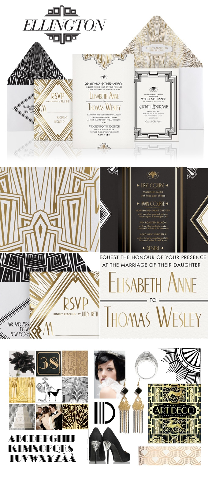 Ellington Art Deco wedding invitation