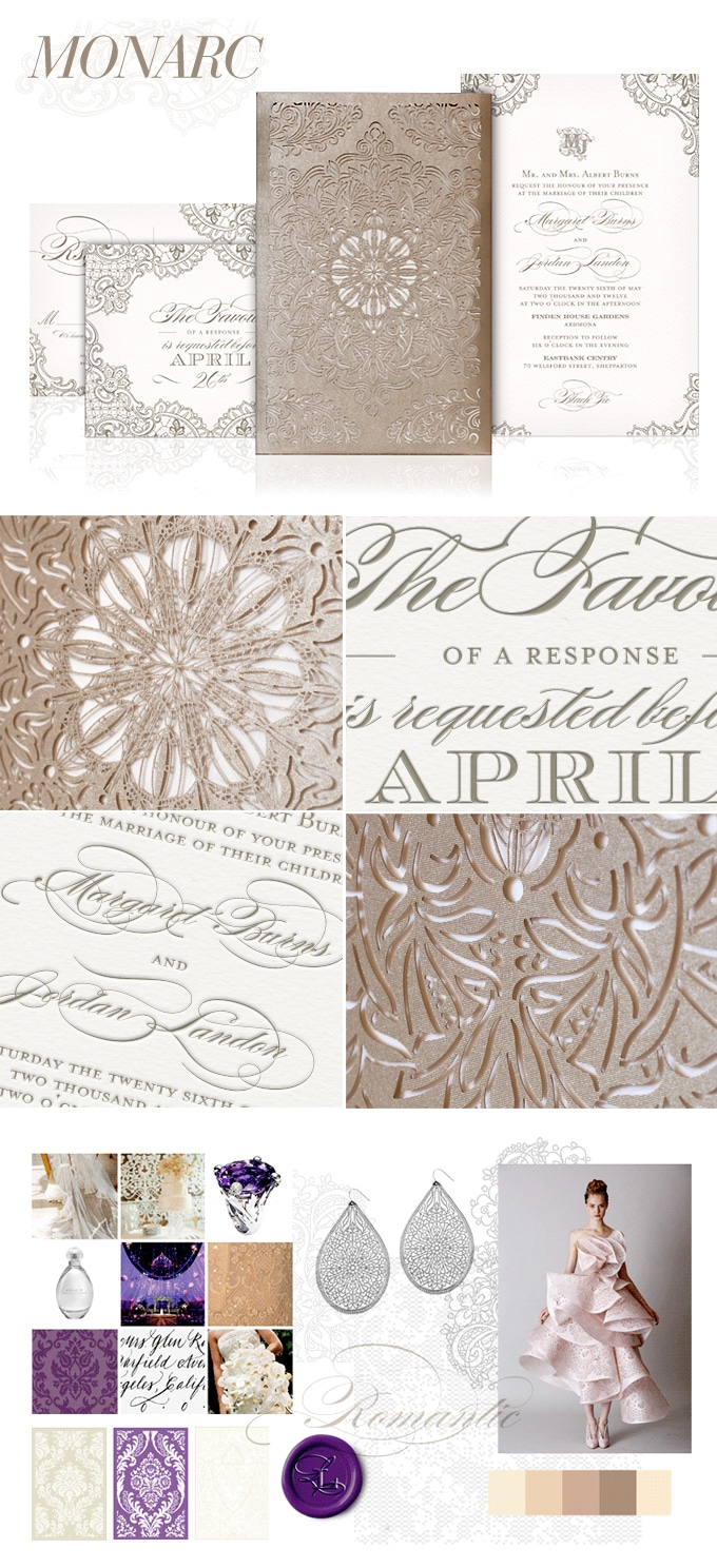 Monarc lace laser cut wedding invitation