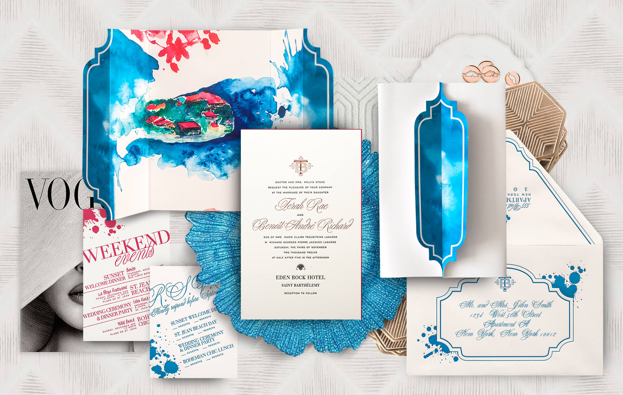 Saint Barts watercolor destination wedding invitation